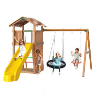 Игровой городок Jungle Cottage + Swing Module Xtra с гнездом + Rock Module Jungle Gym
